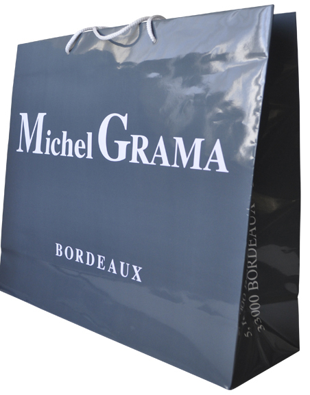 Glossy Laminated Paper Bags With Printed Logo And Rope Handle